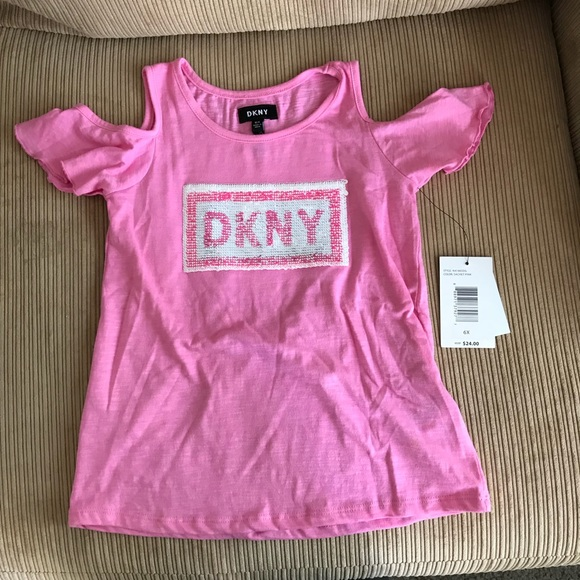 07ea4263fc484 DKNY cold shoulder shirt with reversible sequins